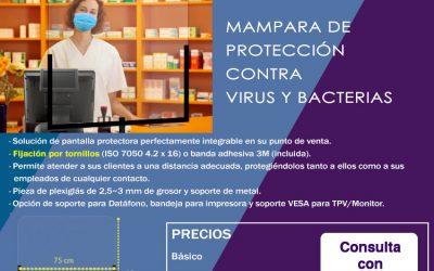 Mampara de protección para virus y bacterias